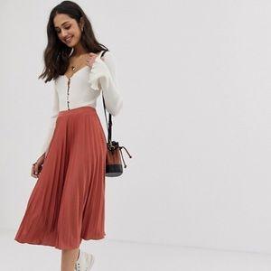 ASOS DESIGN pleated midi skirt in jersey crepe